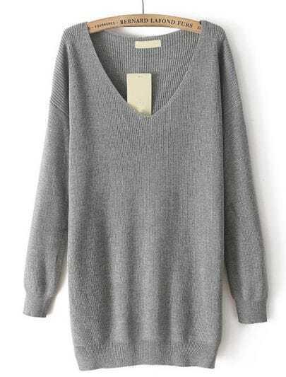 Grey V Neck Long Sleeve Loose Knit Sweater
