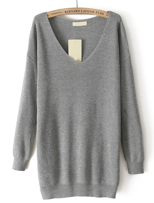 Grey V Neck Long Sleeve Loose Knit Sweater -SheIn(Sheinside)