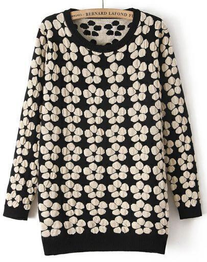 Black Long Sleeve White Flower Pattern Sweater