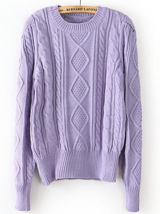 Purple Puff Long Sleeve Cable Knit Sweater -SheIn(Sheinside)