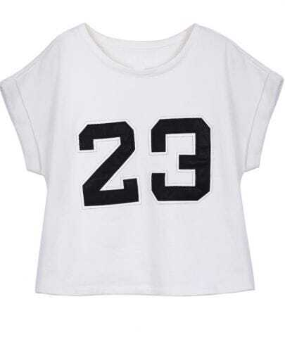 White Short Sleeve Patched PU Leather 23 T-shirt