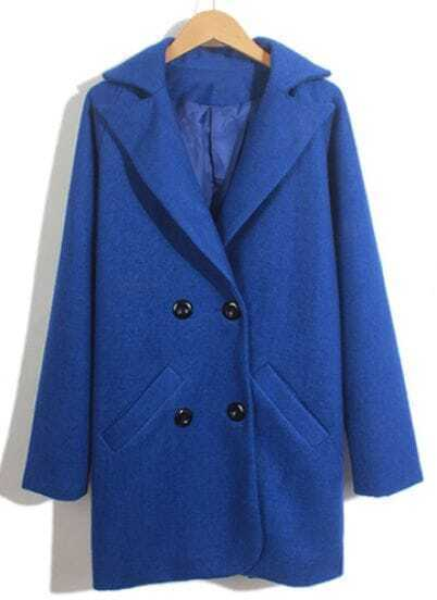 Blue Lapel Long Sleeve Double Breasted Coat