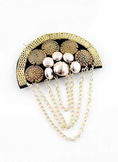 Gold Rivet Multilayer Chain Brooches