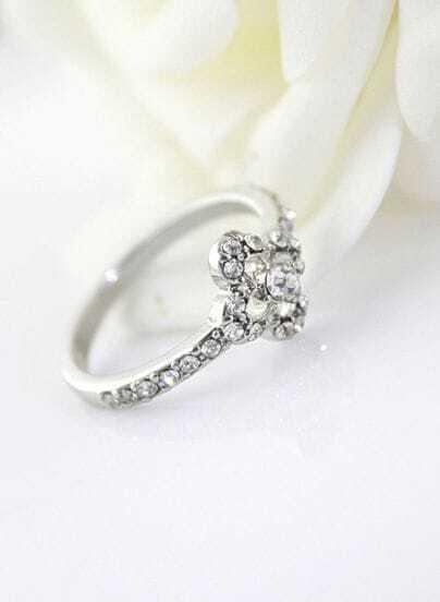 Fashion Silver Crystal Flower Ring