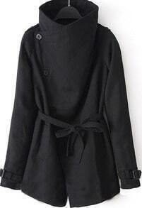 Black Lapel Long Sleeve Belt Pocket Coat