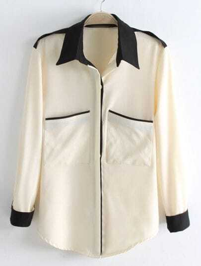 Beige Long Sleeve Contrast Black Lapel Pocket Blouse