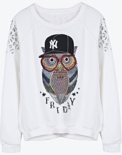 White Long Sleeve Owl Print Hollow Sweatshirt