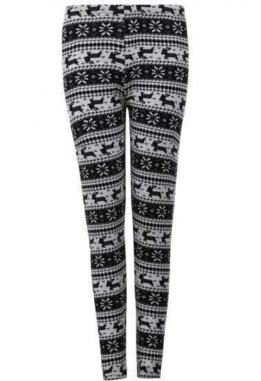 White Snowflake Deer Pattern Leggings