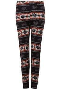Coffee Snowflake Deer Pattern Leggings