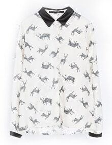 White Long Sleeve Deer Print Slim Blouse