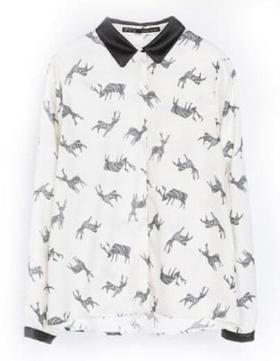 White Long Sleeve Deer Print Slim Blouse