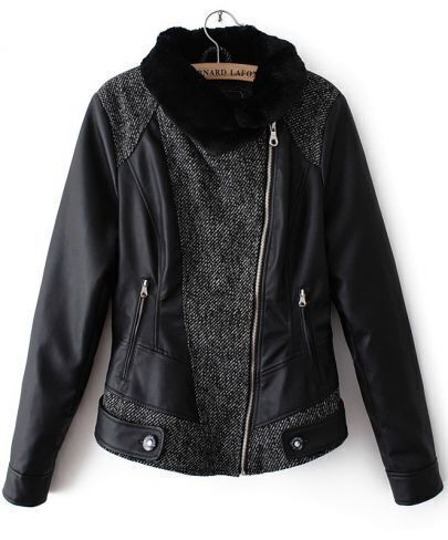 Black Contrast Lapel Long Sleeve PU Leather Jacket