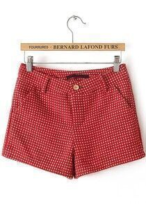 Red Pockets Spot Shorts