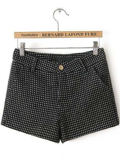 Black Pockets Spot Shorts