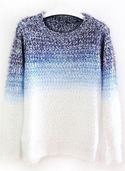 Blue Gradients Long Sleeve Mohair Loose Sweater