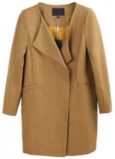 Khaki Long Sleeve Loose Pockets Woolen Coat
