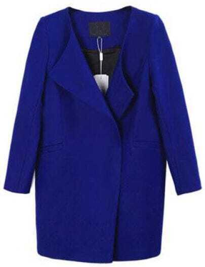 Blue Long Sleeve Loose Pockets Woolen Coat