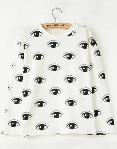 White Batwing Long Sleeve Eyes Print Sweatshirt