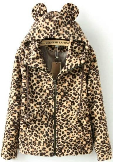 Abrigo pelaja leopardo con capucha manga larga-Kaki