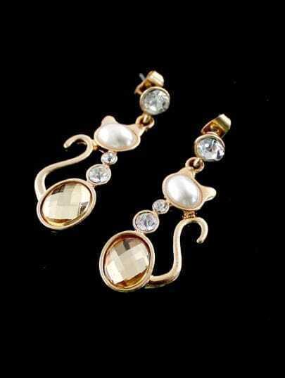 Yellow Gemstone Gold Cat Earrings