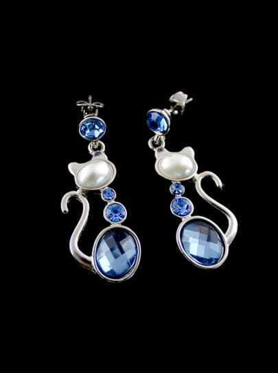 Blue Gemstone Silver Cat Earrings