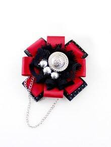 Red Black Polka Dot Bow Chain Brooches