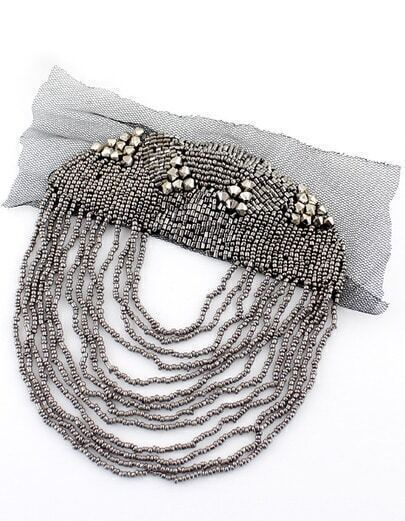 Silver Multilayer Bead Brooches