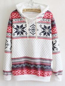 White Long Sleeve Snowflake Hooded Tribal Sweatshirt