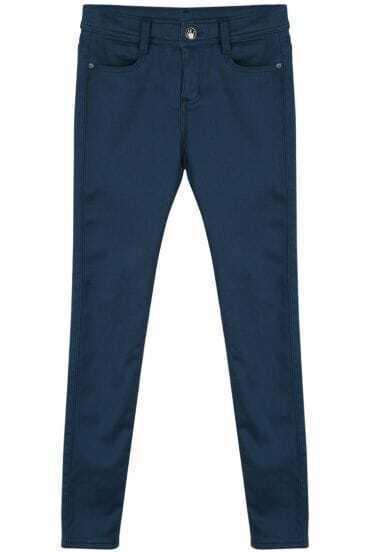 Blue Simple Design Pockets Pencil Pant