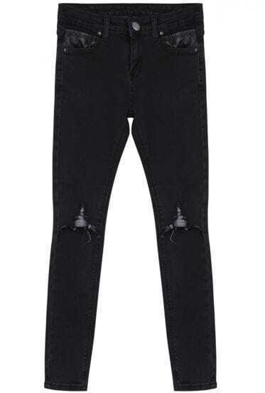 Black Pockets Ripped Denim Pant