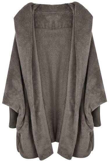 Khaki Hooded Batwing Long Sleeve Loose Coat