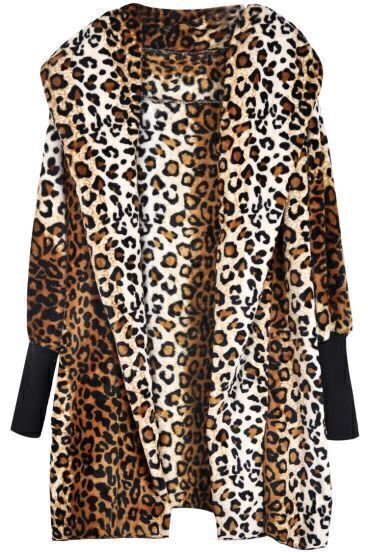 Leopard Hooded Long Sleeve Loose Outerwear