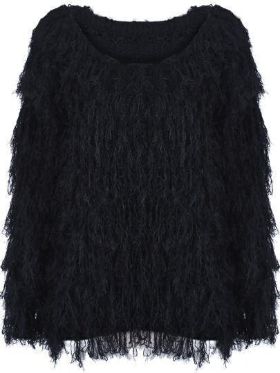 Black Round Neck Long Sleeve Shaggy Sweater