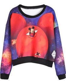 Red Long Sleeve Mickey Print Crop T-Shirt