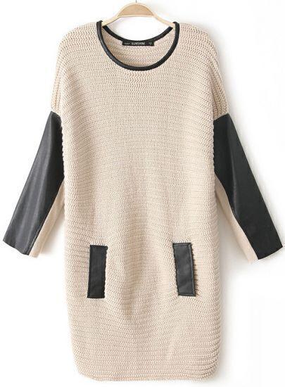 Khaki Contrast Leather Long Sleeve Pocket Sweater