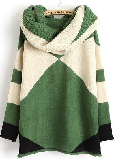 Green Contrast White Long Sleeve Scarve Geometric Sweater