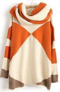 Orange Contrast White Long Sleeve Scarve Geometric Sweater