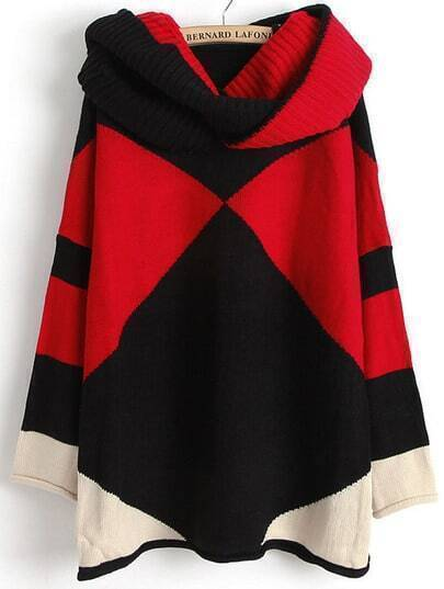 Black Contrast Red Long Sleeve Scarve Geometric Sweater