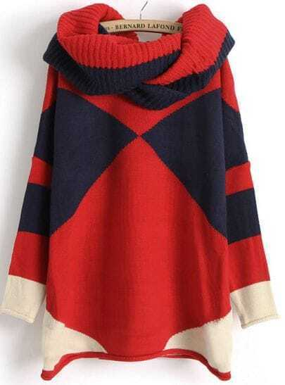 Navy Contrast Red Long Sleeve Scarve Geometric Sweater