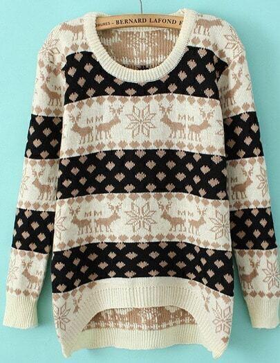 Beige Long Sleeve Deer Print Striped Sweater
