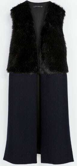 Black Sleeveless Contrast Fur Coat