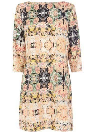 Khaki Half Sleeve Vintage Floral Dress