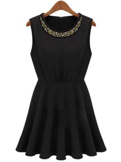 Black Round Neck Sleeveless Bead Pleated Sundress