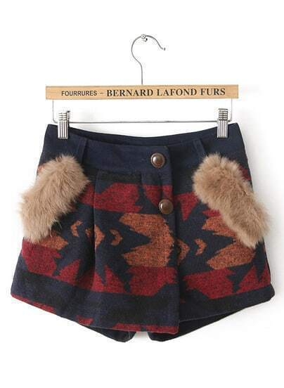 Wine Red Faux Fur Geometric Woolen Shorts