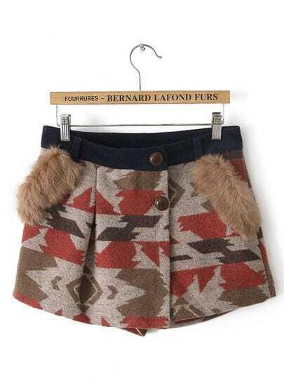 Coffee Faux Fur Geometric Woolen Shorts