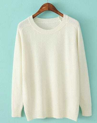 White Long Sleeve Simple Design Sweater