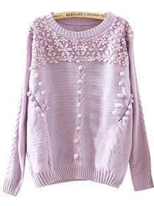 Purple Long Sleeve Twisted Ball Cable Knit Sweater