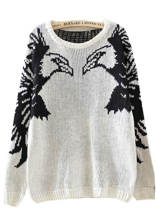 Beige Long Sleeve Eagle Pattern Knit Sweater -SheIn(Sheinside)