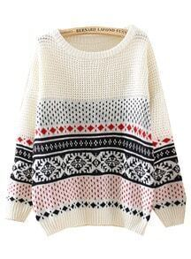 Beige Long Sleeve Diamond Patterned Loose Sweater