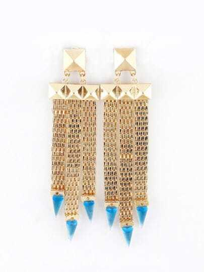 Blue Triangle Gold Rivet Tassel Earrings